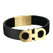 14k Gold Finish AA Bracelet Black Leather 19mm Stainless Steel Custom Style Men