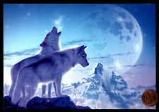 Christmas Wolves Wolf Howling Moon Snow Mountains - Christmas Greeting Card New