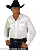 Ely Cattleman Plain White Casual Mens Long Sleeve Shirt with Western Pearl Snaps