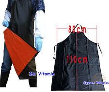 Black Waterproof Full Apron PVC Coated Kitchen Butcher Work Wear Clean Unisex