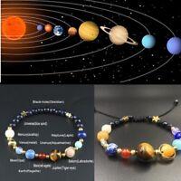 Natural Stone Beads Galaxy Planets Solar System Bracelet Bangle