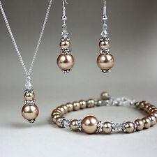 Brown crystals pearl necklace bracelet earrings silver wedding bridesmaid set