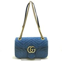 Auth GUCCI GG Marmont Quilting Small Shoulder Bag 443497 Blue Denim