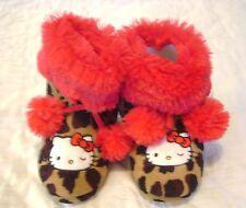 NWT Girls Slipper Boots HELLO KITTY Leopard RED Pom Pom Sz 11 12 Warm Soft NEW