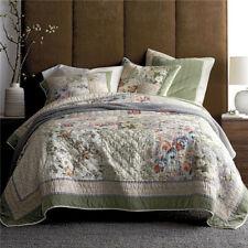 Belle Romantic Floral Quilt Set Handmade Patchwork Coverlet Velvet Border Cotton