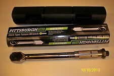 "**NEW** PITTSBURGH PRO 1/4"" DRIVE CLICK STOP TORQUE WRENCH WITH HARD CASE"