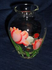 "Beautiful 4.5"" LENOX Glass BUD VASE w/Hand-Painted TULIPS & LADYBUG"
