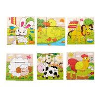Kids Baby 3D Animals Blocks Puzzle Toys Cartoon Developmental Wooden Jigsaw U4F3
