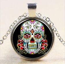 2017 Vintage skull Cabochon Tibetan silver Glass Chain Pendant Necklace jewelry