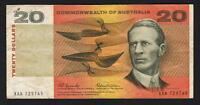Australia R-401F (1966) Coombs/Wilson - 20 Dollars.  XAA 1st Prefix. VF - Crisp