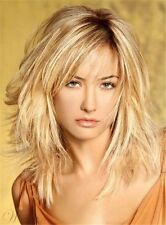Layered Messy Straight Mid-Length Synthetic Hair Capless Wigs Blonde