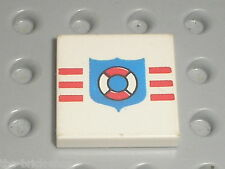 LEGO Tile  2 x 2 with Coastguard Pattern ref 3068bp66 / Set 6387 6518 5319 6411