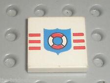 LEGO Tile  2 x 2 with Coastguard Pattern ref 3068bp66 / Set 6387 6518 5319 6411
