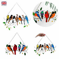 Stained Glass Birds on a Wire Window Panel Hanging Sun Catcher Hardware Acrylic