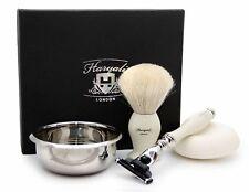 4 in1 Shaving Kit In Ivory Color Barber Brush & Safety Razor Travel Shave Set