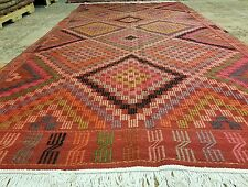 Antique 1930-1939s Natural Dyes 5x10ft Embroidered Flat Woven Cicim Kilim