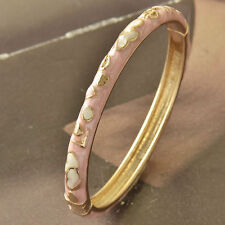 Nice New 9K Yellow Gold Filled Pink & White Enamel Heart Love Bangle Bracelet