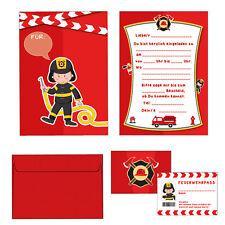 mutiger Feuerwehrmann - Einladungskarten Set Kindergeburtstag - 24-teilig