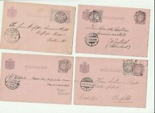 Netherlands Postal History: 8 small round cancels to Europe, 1883-97