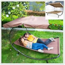 Garden Sun Lounger Bed Double Hammock Chaise Outdoor Relaxing Pool Day Sunshade