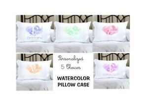 Personalized WATERCOLOR pillow case!  5 choices - Free Shipping!