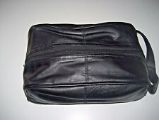 Genuine Leather Zipper Top Shaving Toiletry Kit Black Lambskin Free Ship NWT