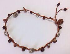 Large Brown Man's String Macrame Wood Shell Gem Stone Anklet Bracelet Hippy Surf