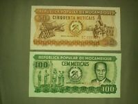 Mozambique P-125-126 100 Meticais and 50 meticais 1980 UNC lot-Crisp! Gradable!