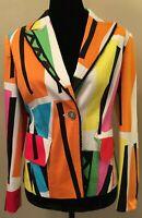 Vintage Feraud Womens Blazer Jacket Size F40 US 10 Multicolor Retro Print Cotton