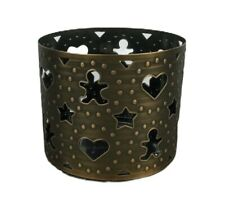 Bath and Body Works Large 3 Wick Candle Holder 14.5oz Gingerbread Man Heart Star