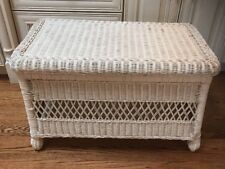 Vintage Wicker Chest Trunk w/ Hinged Lid Asian Style Rounded Top 27x12