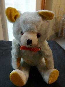 VINTAGE 1940's (?) Mohair (?) Stuffed Jointed Poseable Teddy Bear Squeaker JAPAN