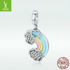 925 Sterling Silver Charm Pendant Rainbow CZ Bead Enamel For Women Bracelet Gift