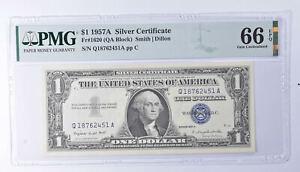 $1 1957-A Silver Certificate PMG 66 EPQ Gem New, Fr# 1620 (QA Block) *802