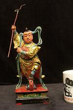 Nezha The Third Prince Hard Carved Wood Taoist Deity Gold Gilt 20c