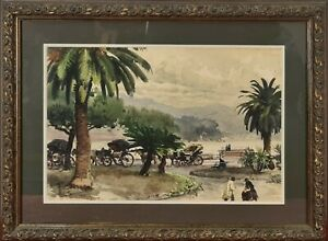 CITY PARK. UNKNOWN SIGNATURE. WATERCOLOR ON PAPER. 1945.