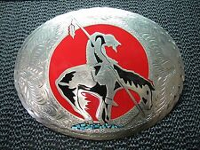 WIL-AREN END OF TRAIL TURQUOISE INLAID BELT BUCKLE! VINTAGE! VERY RARE! HUGE!