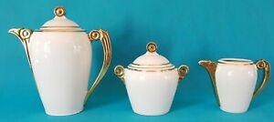 Coffee Pot Sugar Bowl Cover Pot A Milk Porcelain Art Deco Ref 302969675229