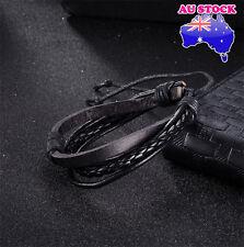 Fashion Women Men Leather  Multi-Layer Hand Adjustable  Bracelet (Black)