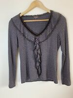 Phase Eight size 12 brown striped top with frill neckline