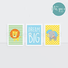 "Unisex Nursery Art Print Green Yellow Blue 5""x7"" Three Pack | Circus Safari"