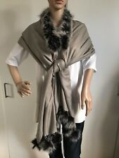 Fox Fur Collar Cashmere shawl/scarf/wrap with black fur pom poms RRP GBP 150