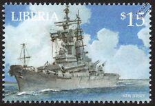 USS NEW JERSEY BB-62 US Navy Iowa-Class Battleship Warship Stamp (2001 Liberia)