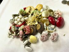Lot 23 Pairs Of Old Vintage 30's 40's Costume Earrings Unusual Signed Czech +