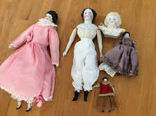 LOT OF 6 ANTIQUE BISQUE DOLLS porcelain heads arms feet Germany