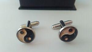 """Ying Yang Cufflinks 14mm (1/2"""")  Feng Shui Women's Mens Jewellery Gifts"""