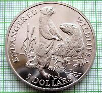 COOK ISLANDS 1991 5 DOLLARS, ENDANGERED WILDLIFE SERIES - EUROPEAN OTTERS, UNC