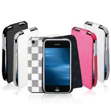 CUSTODIA iPHONE 3G - 3GS PELLE BIANCA-GRIGIA EFFETTO SCACCHI COPRI DISPLAY