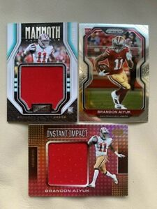 LOT (3) 2020 BRANDON AIYUK 49ers JUMBO ROOKIE JERSEY RC! PLAYBOOK 047/199, PRIZM