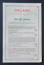 Catalogue tarif des chassis automobile DELAGE 15 septembre 1925 Torpedo 11 CV
